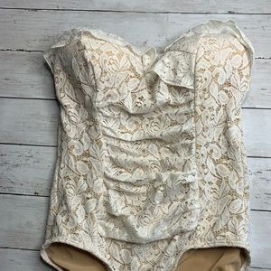Jantzen Strapless Lace Cream illusion swimsuit 8